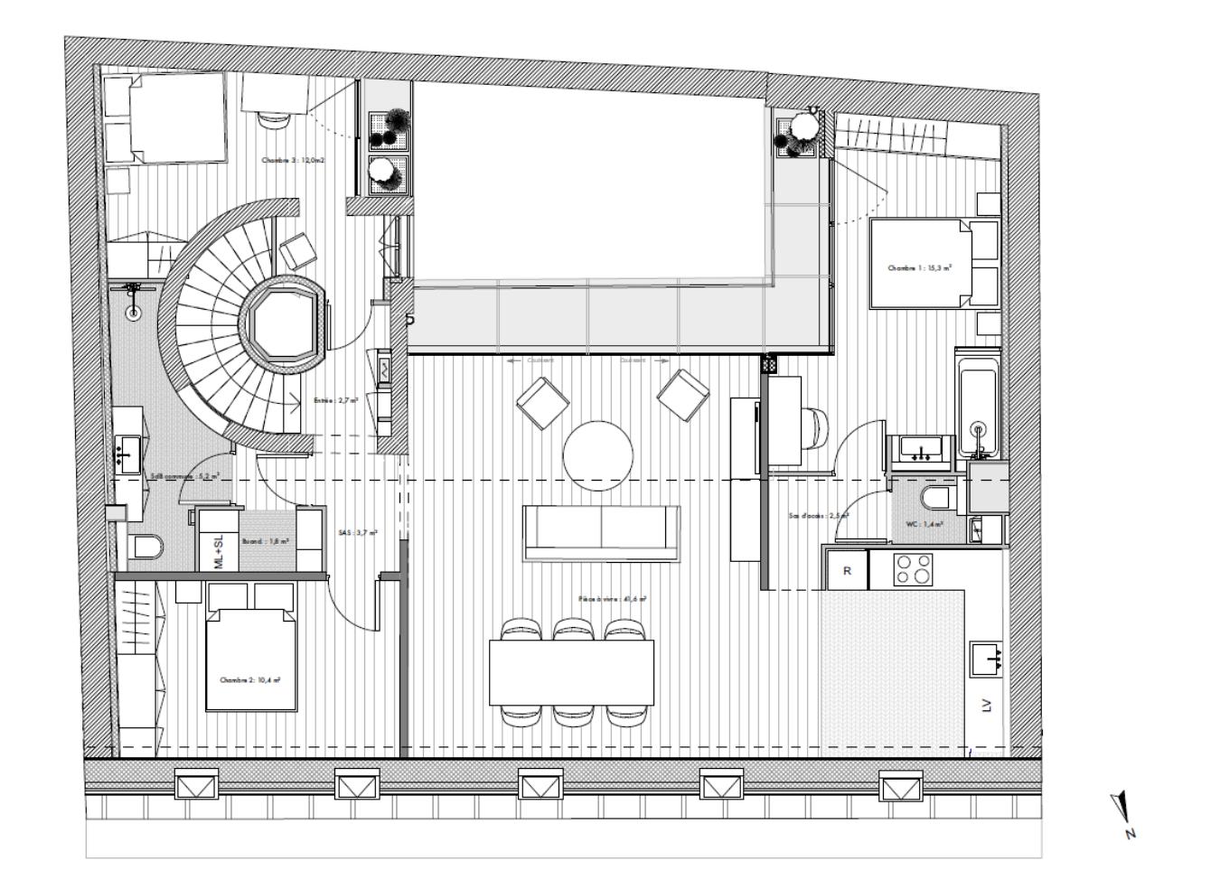 location vide - rue des je u00fbneurs - paris 2 - 109m2 - 3 chambres